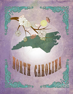 Modern Vintage North Carolina State Map  Original