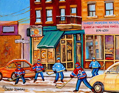 Street Hockey Painting - Montreal Paintings by Carole Spandau
