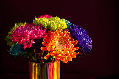 Photograph - Multicolored Chrysanthemums In Paint Can by Jim Corwin