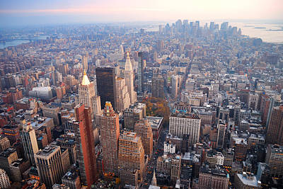 Photograph - New York City Manhattan Skyline Aerial View by Songquan Deng