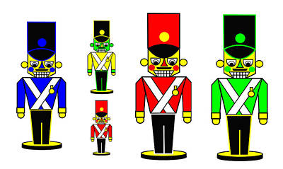 6 Nutcracker Soldiers On Black Art Print by Asbjorn Lonvig