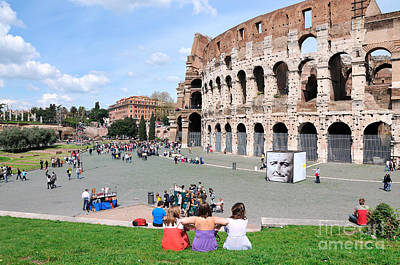 Teenagers Photograph - Outside Colosseum In Rome by George Atsametakis