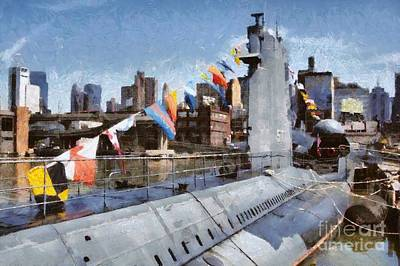 Painting - Painting Of Intrepid Museum by George Atsametakis