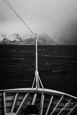 Passenger Ship Sailing Along The Coast Of The Norwegian Sea During Winter Norway Europe Print by Joe Fox