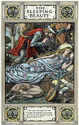 Girl And Dog Drawing - Perrault Sleeping Beauty by Granger