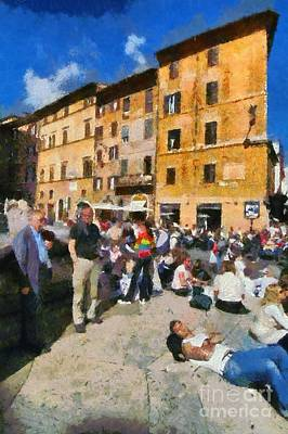 Teenagers Painting - Piazza Della Rotonda In Rome by George Atsametakis
