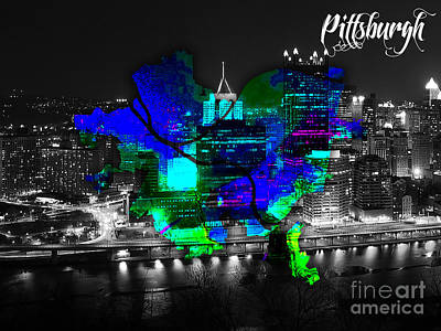 Pittsburgh Skyline Mixed Media - Pittsburgh Map And Skyline Watercolor by Marvin Blaine