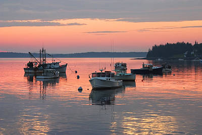 Port Clyde Maine Fishing Boats At Sunset Art Print