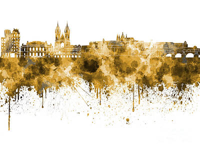 Czech Republic Painting - Prague Skyline In Watercolor On White Background by Pablo Romero