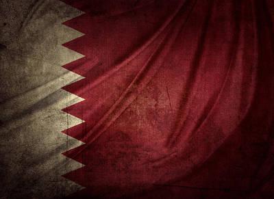 Qatar Flag Art Print by Les Cunliffe