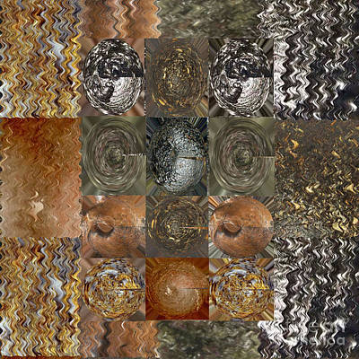 Navinjoshi Painting - Rareearth Rare Earth Stones Minerals Microphotography Micro Photography Tiled Square Silver Chrome B by Navin Joshi