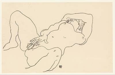 Crayons Drawing - Reclining Nude by Egon Schiele