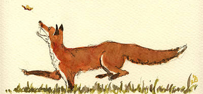 Signed Painting - Red Fox by Juan  Bosco