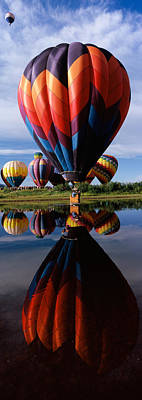 Reflection Of Hot Air Balloons Print by Panoramic Images