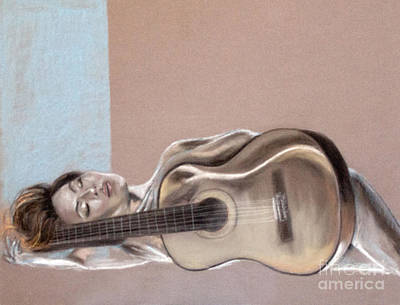 Nude Woman Guitar Drawing - Self Portrait by Tamart H
