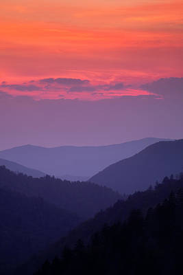 Mountain Valley Photograph - Smoky Mountain Sunset by Andrew Soundarajan