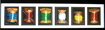 Art Print featuring the drawing 6 Spools by Joseph Hawkins