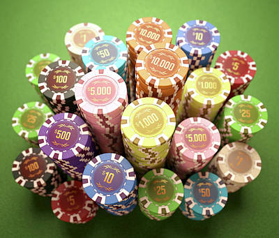 Large Group Of Objects Photograph - Stacks Of Gambling Chips by Ktsdesign
