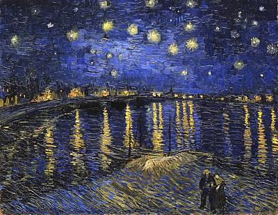 Landscapes Royalty-Free and Rights-Managed Images - Starry Night Over The Rhone by Vincent Van Gogh