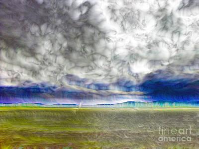 Abstract Beach Landscape Digital Art - Storm by Odon Czintos