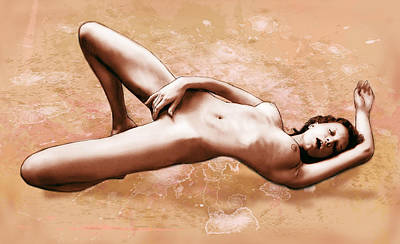 Girl Drawings Drawing - Stylised Nude Girl Drawing Art Sketch by Kim Wang