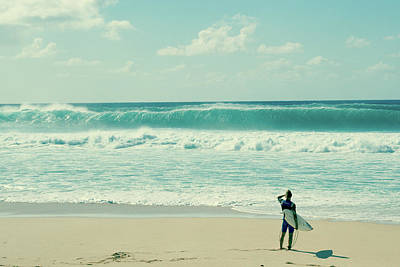 Photograph - Surfer Standing On The Beach, North by Panoramic Images