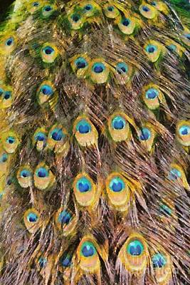 Feathers Painting - Tail Feathers Of Peacock by George Atsametakis