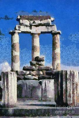 Ancient Painting - Temple Of Athena In Delphi by George Atsametakis