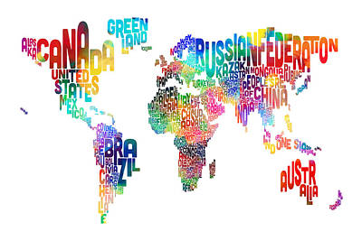 Watercolor Map Digital Art - Text Map Of The World by Michael Tompsett