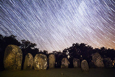 Megalith Photograph - The Almendres Cromlech During Perseids Meteor Shower by Andre Goncalves