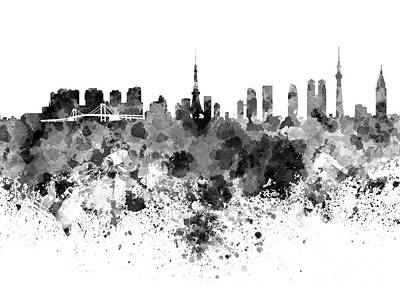 Tokyo Skyline In Watercolor On White Background Print by Pablo Romero