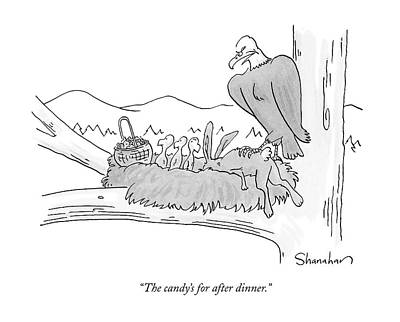 Eagle Drawing - The Candy's For After Dinner by Danny Shanahan