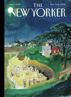 Night Painting - New Yorker August 11th, 2008 by Jean-Jacques Sempe