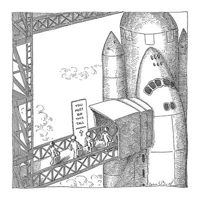 Astronauts Drawing - New Yorker January 10th, 2005 by John O'Brien