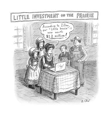 Little House On The Prairie Drawing - New Yorker December 5th, 2016 by Roz Chast