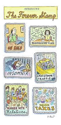 Stamps Drawing - New Yorker March 30th, 2009 by Roz Chast