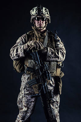 Photograph - U.s. Marine With His Assault Rifle by Oleg Zabielin