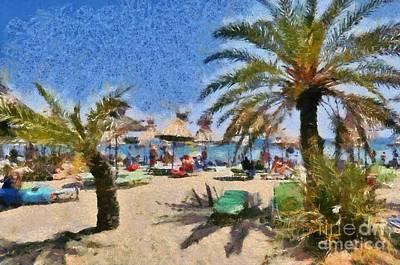 Painting - Painting Of Vai Beach by George Atsametakis