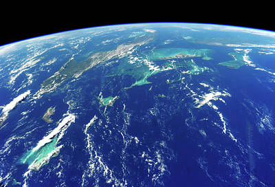 Turks And Caicos Islands Photograph - View Of Planet Earth From Space Showing by Panoramic Images