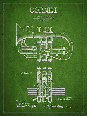 Music Drawing - Cornet Patent Drawing From 1901 - Green by Aged Pixel