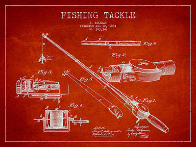 Vintage Fishing Tackle Patent Drawing From 1884 Art Print by Aged Pixel