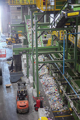 Waste Sorting At A Recycling Centre Art Print by Peter Menzel