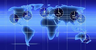 World Map Photograph - World Map Illustration With Time Zones by Alfred Pasieka