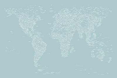 Panoramic Digital Art - World Map Of Cities by Michael Tompsett