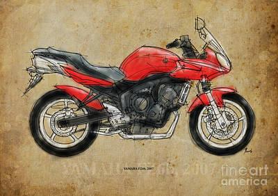 Bike Drawing - Yamaha Fz6b 2007 by Pablo Franchi