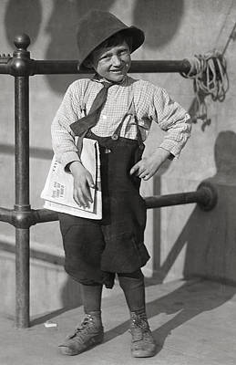 On Paper Photograph - 6-year-old Newsboy 1915 by Daniel Hagerman