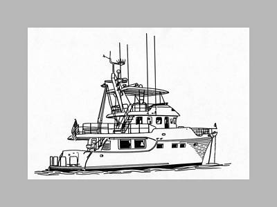 Drawing - 60 Foot Nordhav Grand Yacht by Jack Pumphrey