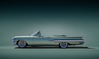 Tail Digital Art - 60 Impala Convertible by Douglas Pittman