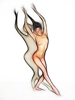 Photograph - 6011 Fractal Nude Dancing With Shadow by Chris Maher
