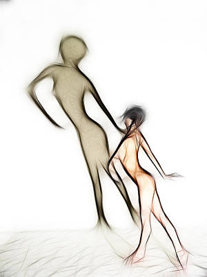 Photograph - 6050 Fractal Nude Dancing With Shadow by Chris Maher